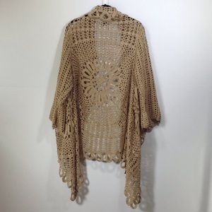 241c1fbab8a Roaman s Sweaters - Roaman s tan crochet starburst stitch cardigan